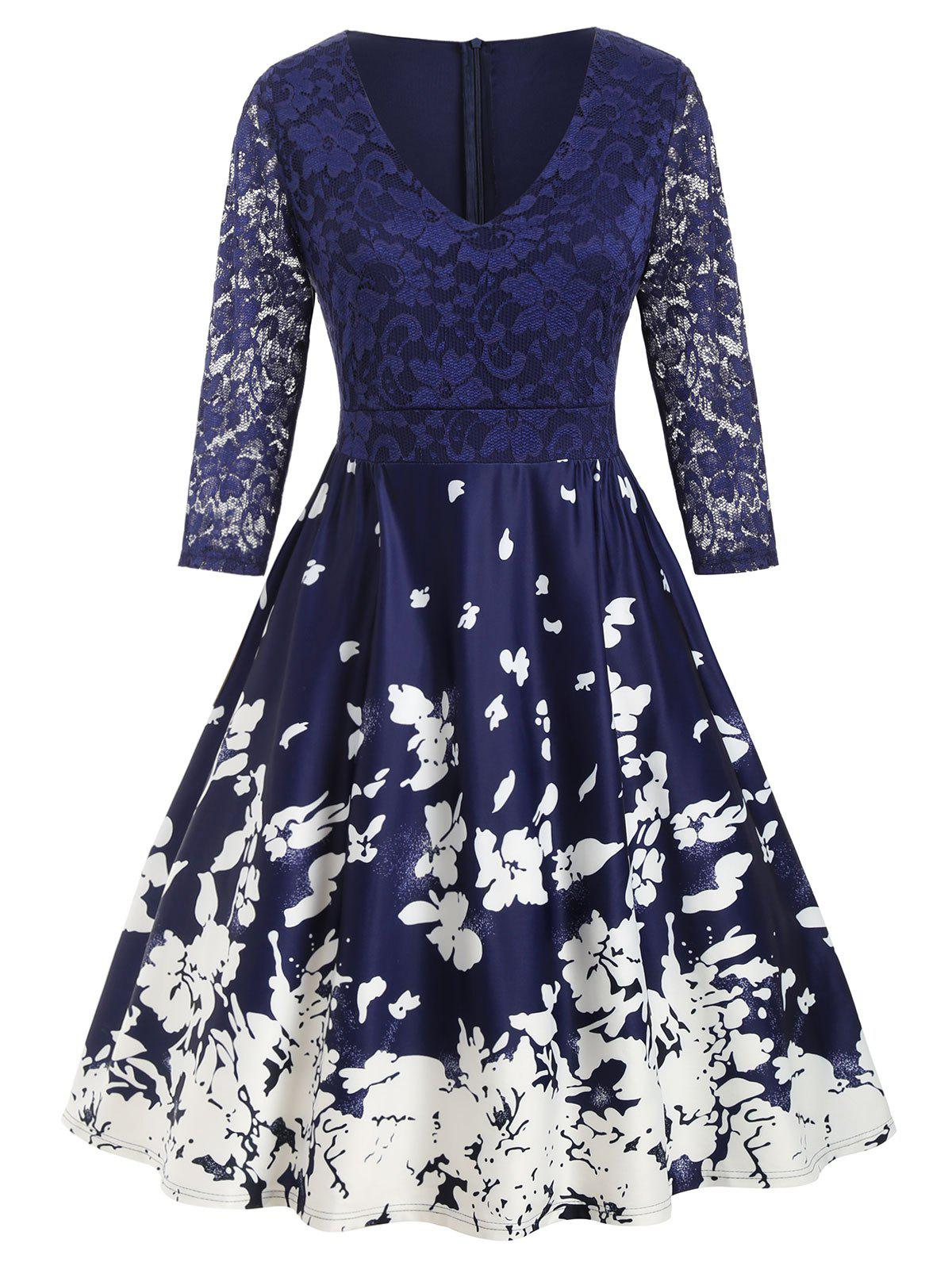 Unique Plus Size Lace Panel Floral Midi Flare Dress