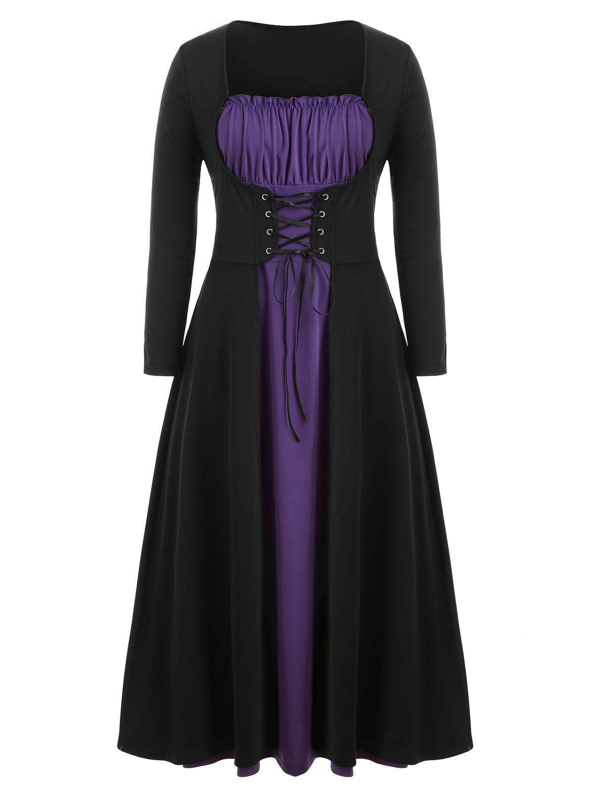 Cheap Plus Size Two Tone Lace Up Maxi Halloween Dress