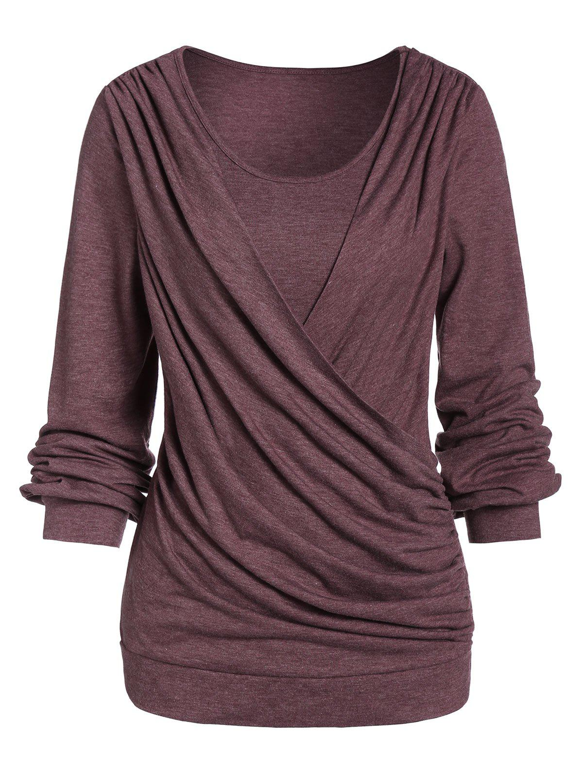 Shop Space Dye Round Collar Long Sleeve T Shirt