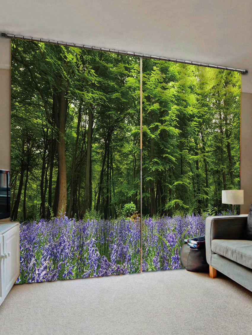 Fashion 2 Panels Forest Lavender Field Print Window Curtains