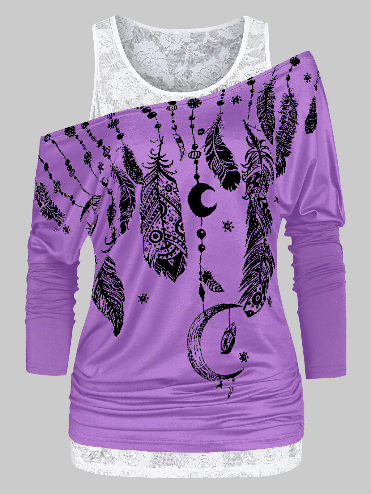 Store Feather Print Ruched T Shirt with Solid Tank Top