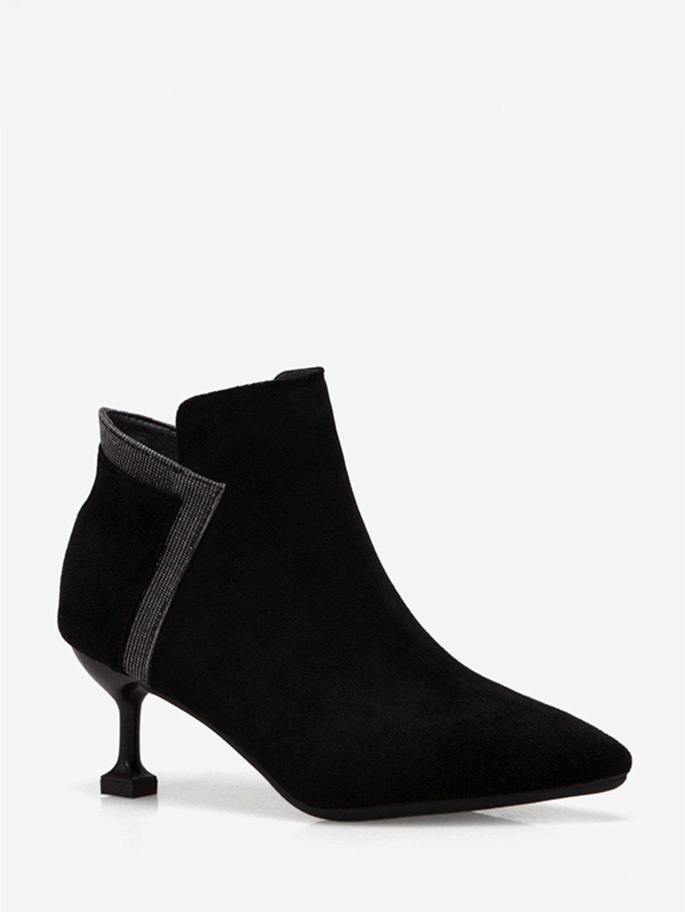 New Strange Heel Pointed Toe Patch Ankle Boots