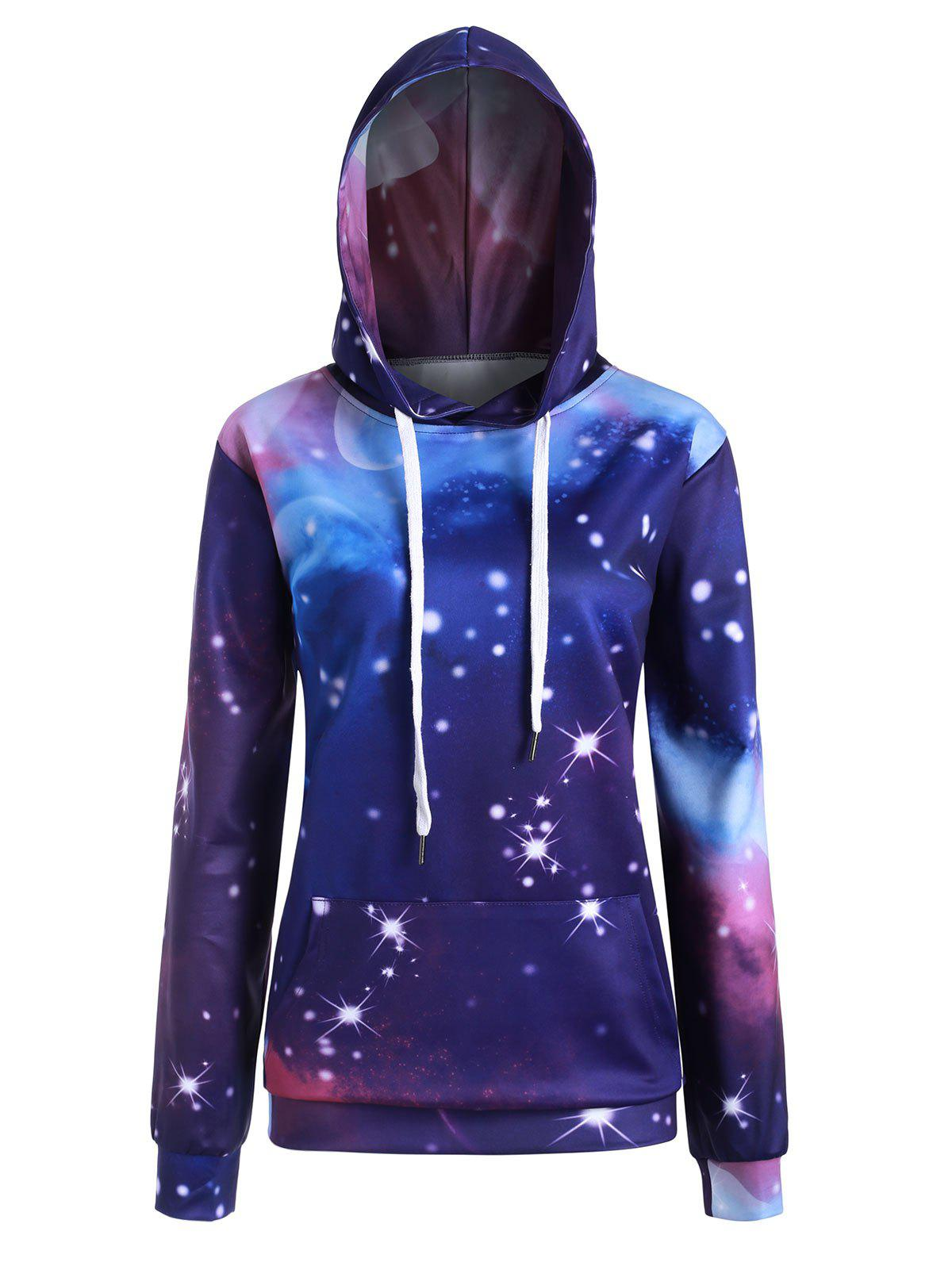 Best Plus Size Pocket Galaxy 3D Print Pullover Hoodie