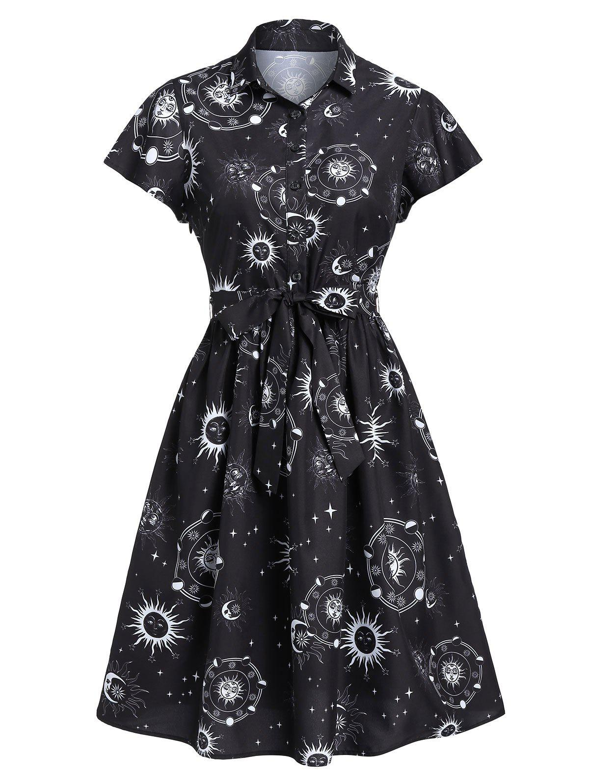 Shops Sun Moon and Star Print Belted Skater Dress