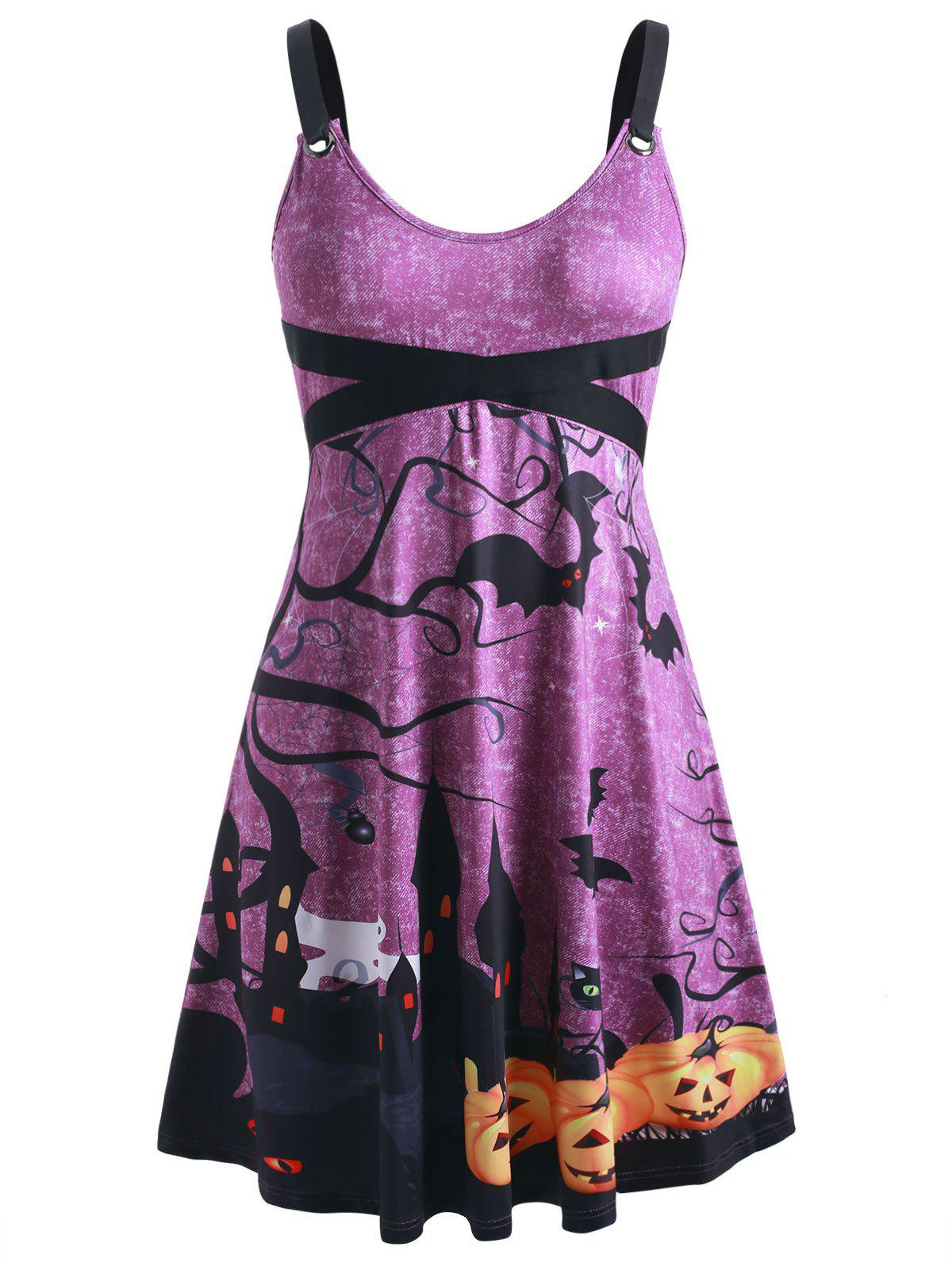 Fashion Plus Size Pumpkin Bat Print Grommets Halloween Dress