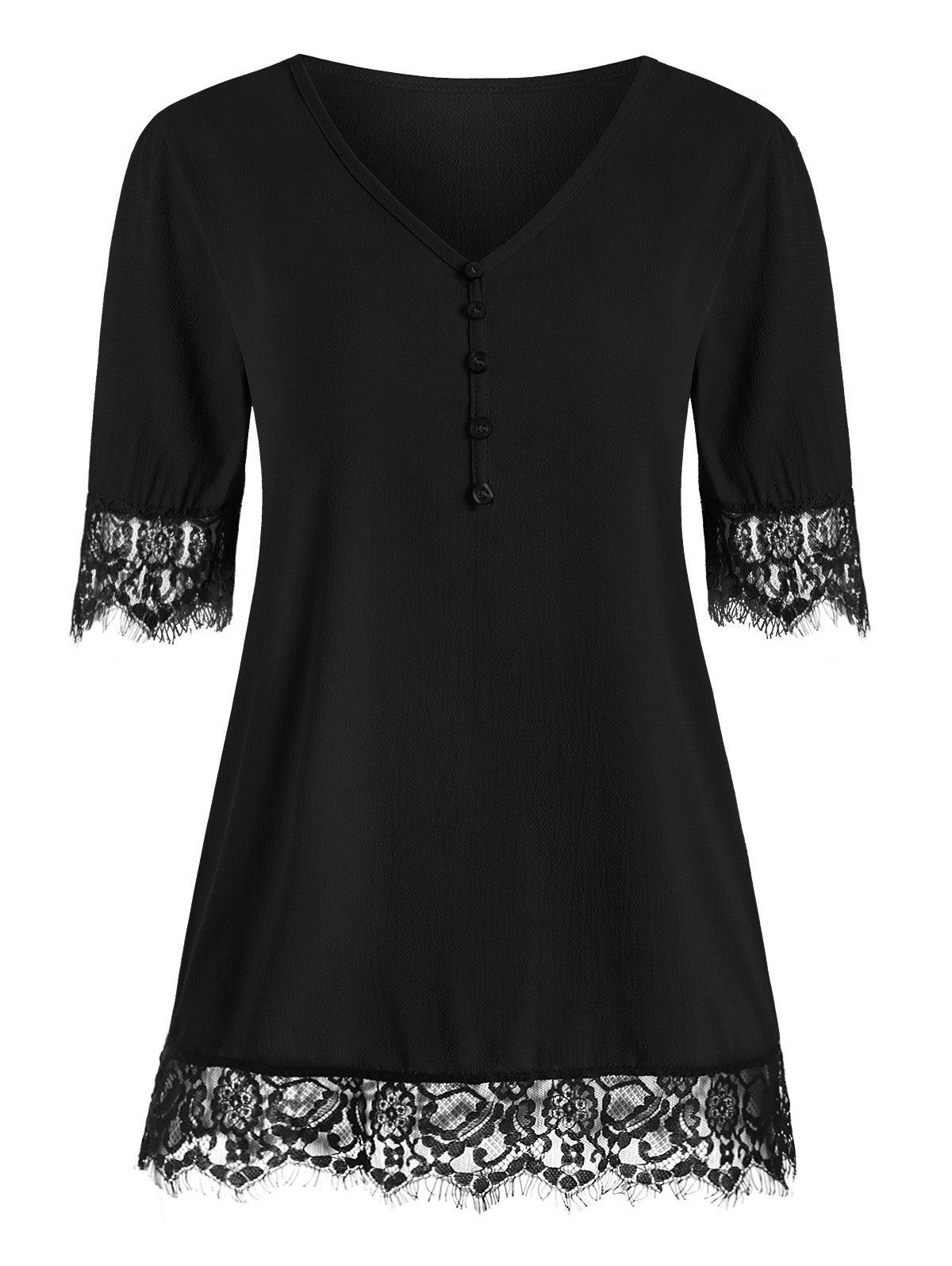 Discount Eyelash Lace Panel Buttons Short Sleeves Blouse