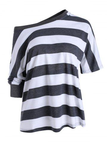 Contrast Striped Three Quarter Sleeves Loose Tee