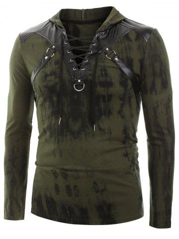 Tie Dye Print Lace-up Faux Leather Insert Hoodie - ARMY GREEN - XL