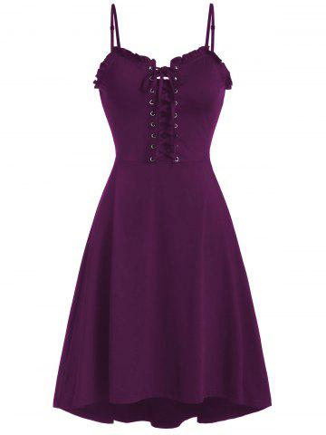 Spaghetti Strap Lace Up Fit and Flare Dress