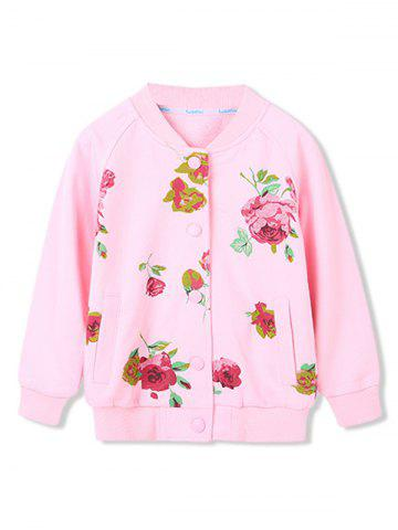 Girls Floral Print Pockets Snap Button Up Jacket