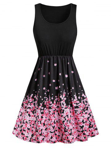 Floral Butterfly Print Sleeveless Mini Dress