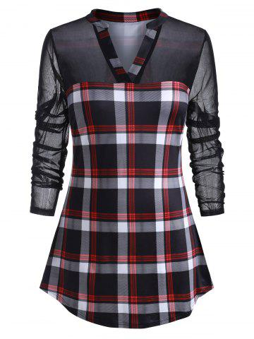 Plus Size Plaid Mesh Panel Tunic Top