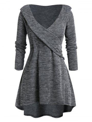 Plus Size Space Dye Plunge High Low Sweater - CARBON GRAY - L