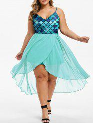 Overlap High Low Mermaid Scales Plus Size Dress -