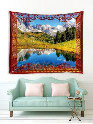 Window Lakeside Mountains Print Tapestry Wall Hanging Art Decoration -