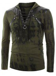 Tie Dye Print Lace-up Faux Leather Insert Hoodie -