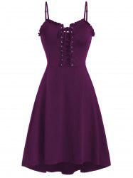Spaghetti Strap Lace Up Fit and Flare Dress -