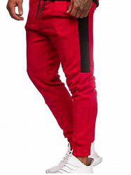 Pantalon de Jogging Jointif en Blocs de Couleurs à Cordon - Rouge M