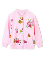 Girls Floral Print Pockets Snap Button Up Jacket -