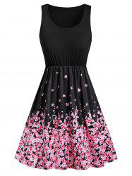 Floral Butterfly Print Sleeveless Mini Dress -