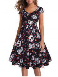 Halloween Skull Ruched Party Dress -