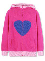 Girls Heart Graphic Zip Up Hooded Cardigan -