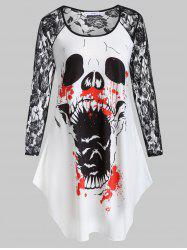 Plus Size Printed Lace Insert Halloween T-shirt -