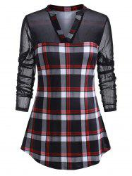 Plus Size Plaid Mesh Panel Tunic Top -