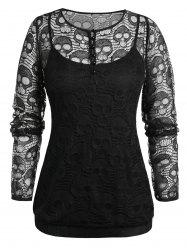 Plus Size Skull Lace Blouse And Cami Gothic Halloween Set -