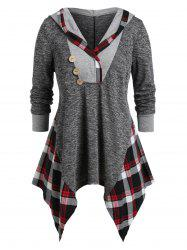 Plus Size Hooded Handkerchief Plaid Marled Tunic Tee -