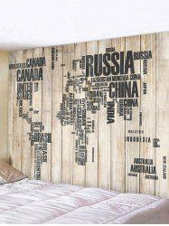 World Map Wooden Pattern Print Tapestry -