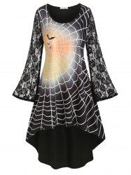 Plus Size Spider Web Print High Low Halloween Dress -