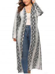 Plus Size Snakeskin Open Front Maxi Coat -