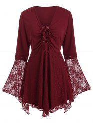 Plus Size Lace Panel Bell Sleeve Lace Up Top -