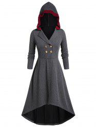 Plus Size Tunic Hooded Striped Coat -