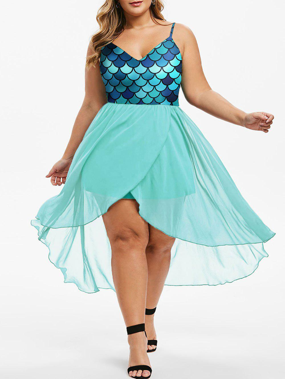 Outfit Overlap High Low Mermaid Scales Plus Size Dress