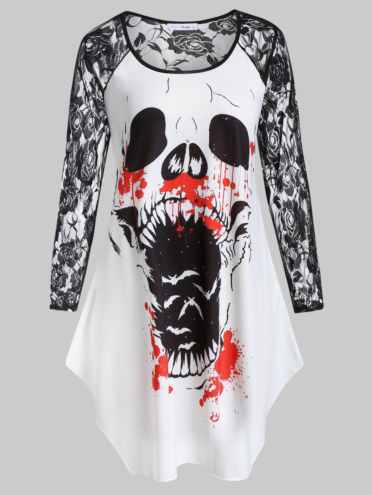Fancy Plus Size Printed Lace Insert Halloween T-shirt