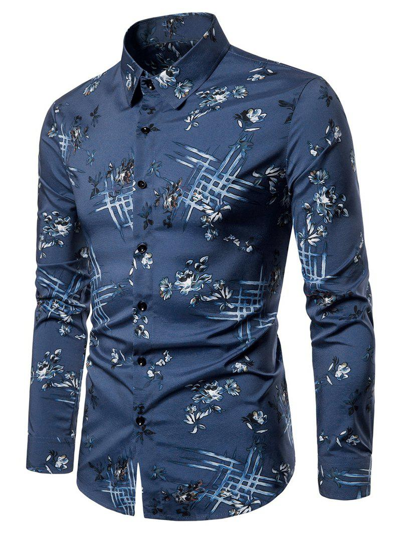 Chic Flower Pattern Long Sleeves Casual Shirt