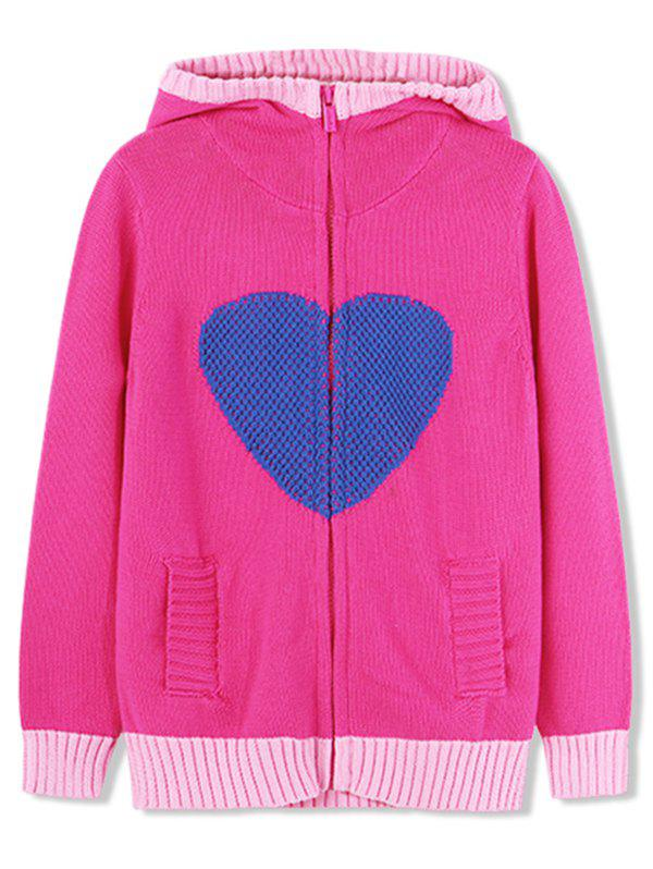 Cheap Girls Heart Graphic Zip Up Hooded Cardigan