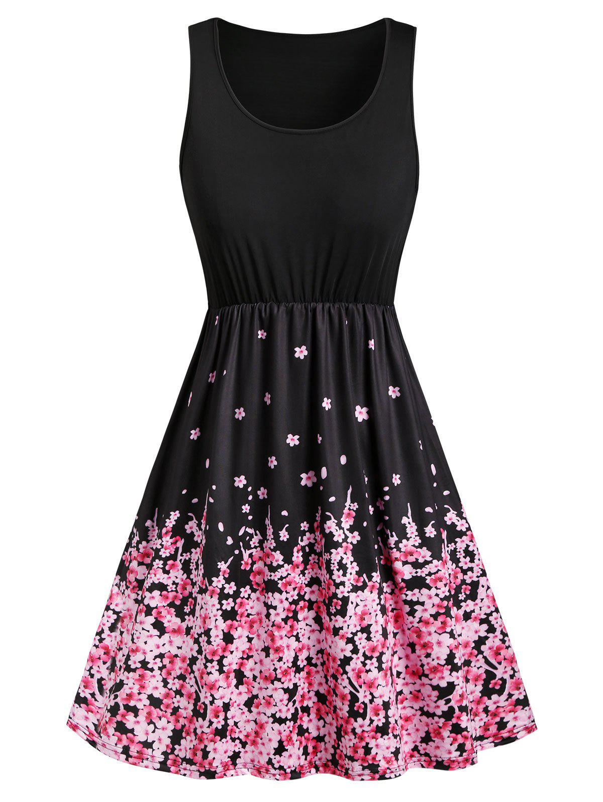 Best Floral Butterfly Print Sleeveless Mini Dress
