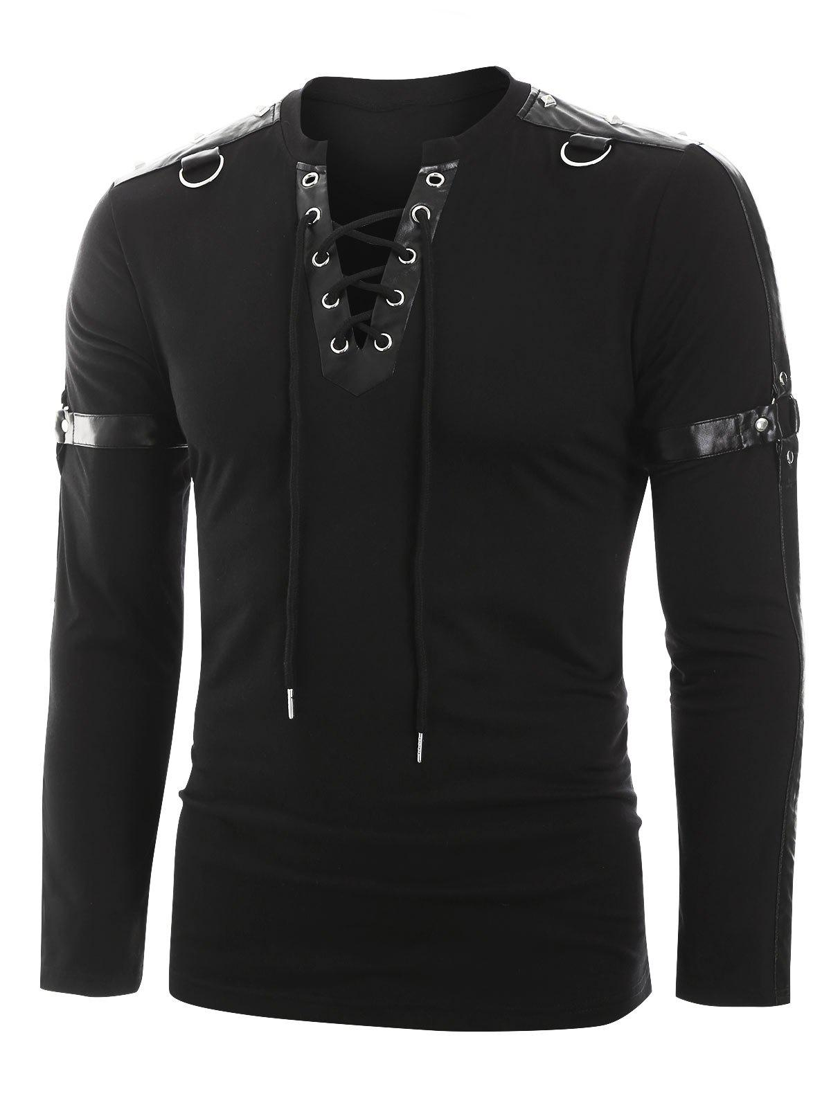 Shop Faux Leather Harness Insert Long Sleeve Lace-up T-shirt