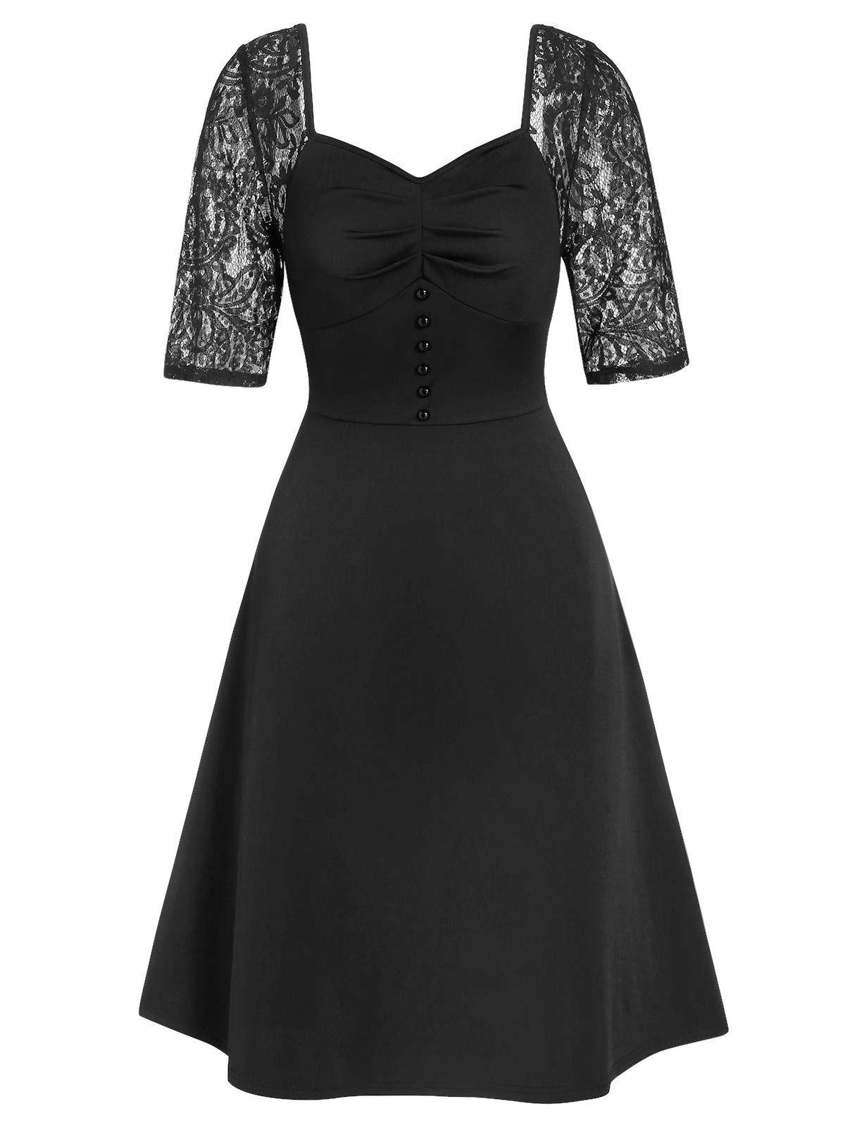 Affordable Sweetheart Collar A Line Lace Panel Dress