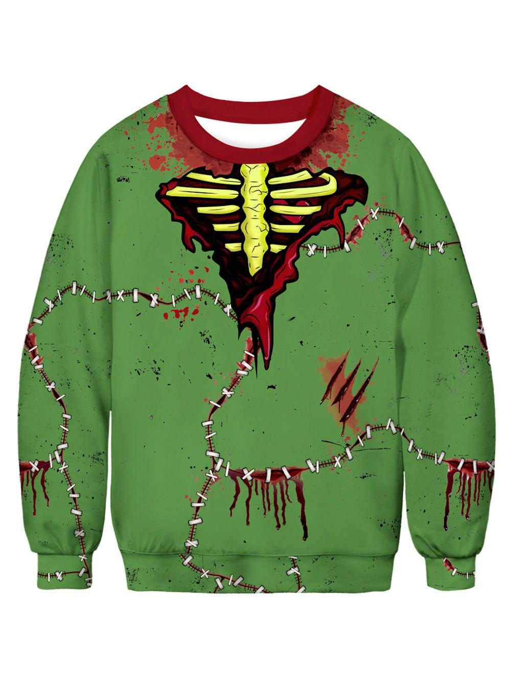 Outfits Bloodstain Stitching Printed Long Sleeves Sweatshirt