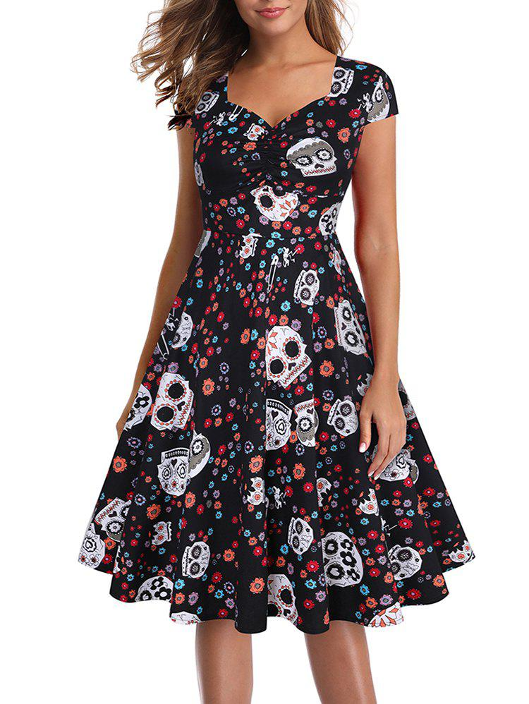 Chic Halloween Skull Ruched Party Dress