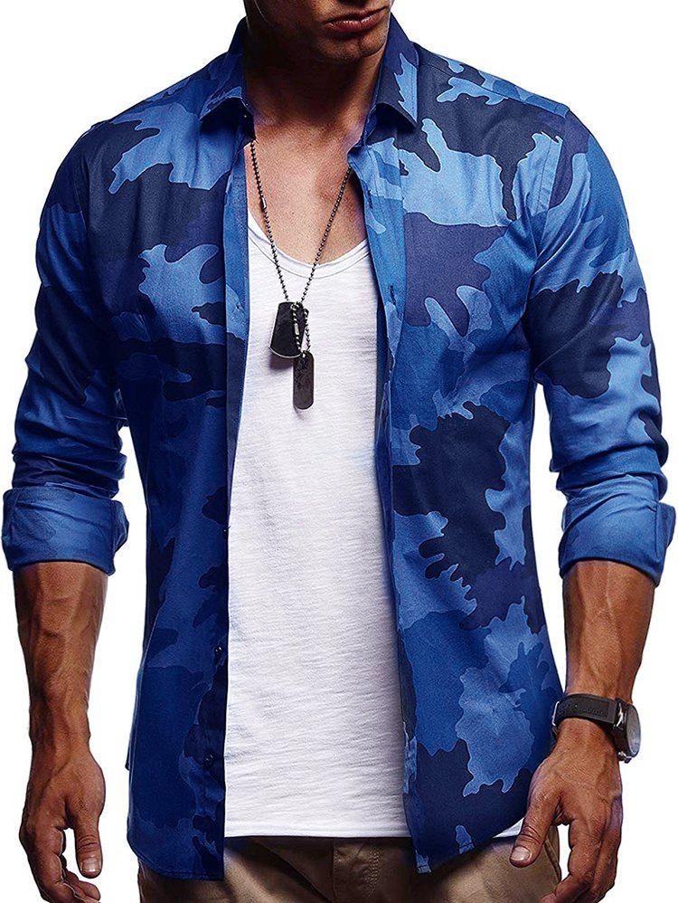 Fancy Camouflage Print Casual Long Sleeve Shirt