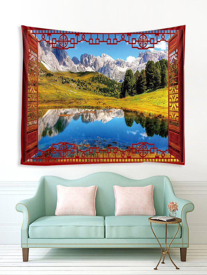 Online Window Lakeside Mountains Print Tapestry Wall Hanging Art Decoration