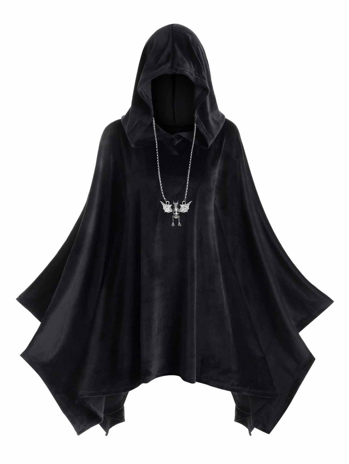 Plus Size Hooded Velvet Poncho фото