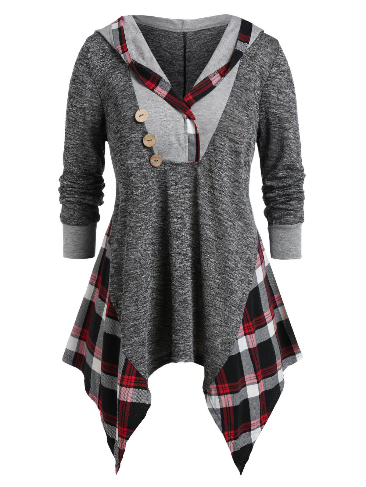 Affordable Plus Size Hooded Handkerchief Plaid Marled Tunic Tee