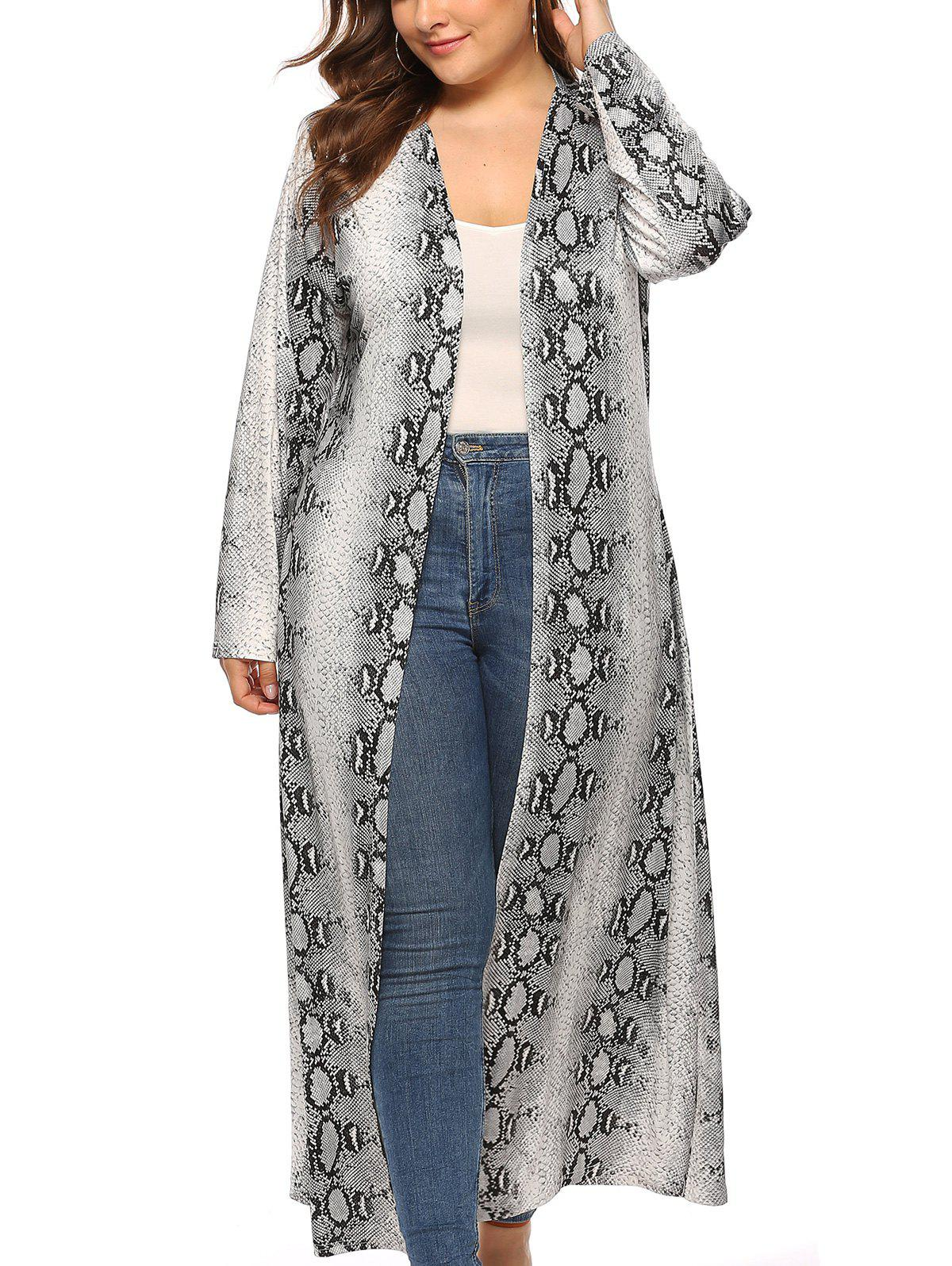 Latest Plus Size Snakeskin Open Front Maxi Coat