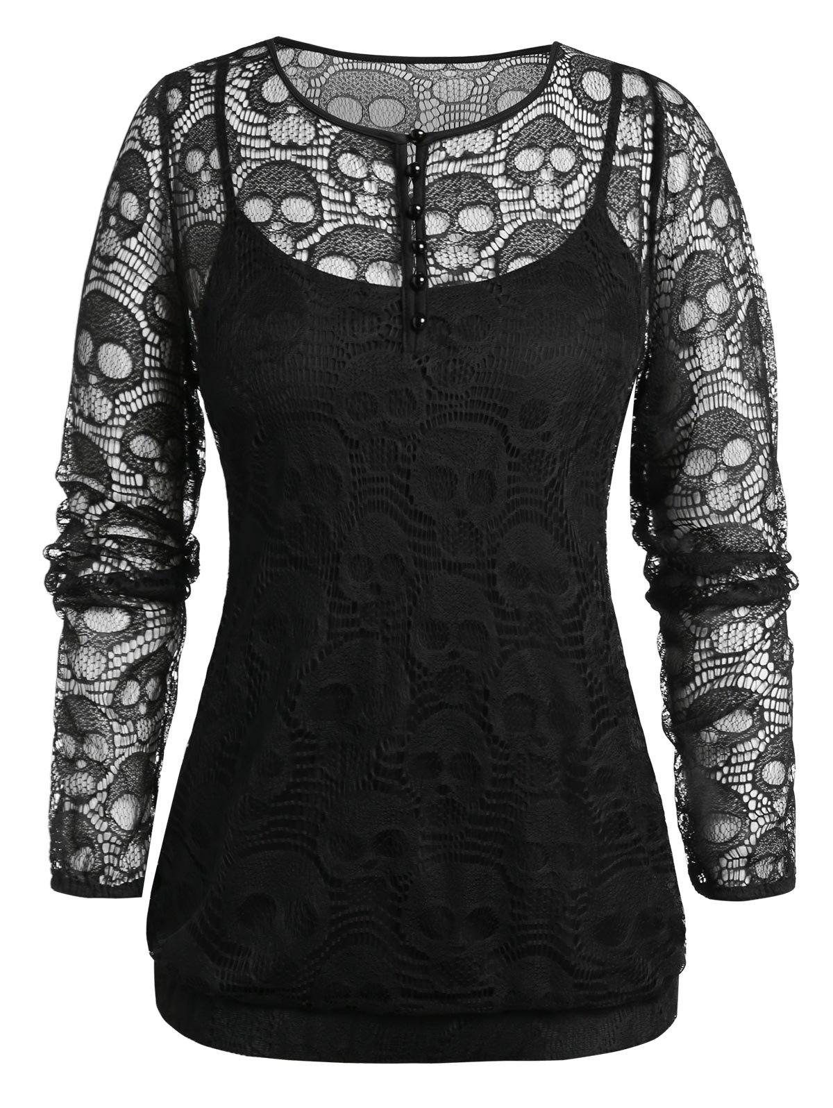 Cheap Plus Size Skull Lace Blouse And Cami Gothic Halloween Set
